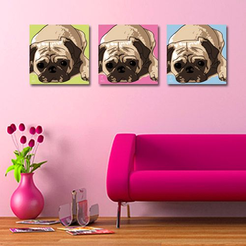 leinwand wandbild hund mops kunstdruck loungeposter stil pop art. Black Bedroom Furniture Sets. Home Design Ideas