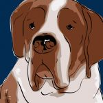 Canvas Print ST. BERNHARD DARK BLUE