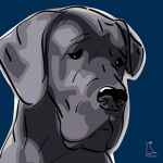 Canvas Print GREAT DANE DARK BLUE