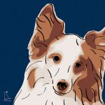 Canvas Print SHELTIE DARK BLUE