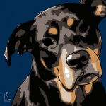 Canvas Print ROTTWEILER DARK BLUE