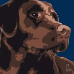 Canvas Print LABRADOR RETRIEVER DARK BLUE