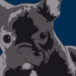 Canvas Print FRENCH BULLDOG DARK BLUE