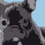 Canvas Print FRENCH BULLDOG LIGHT BLUE