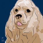 Canvas Print AMERICAN COCKER SPANIEL DARK BLUE