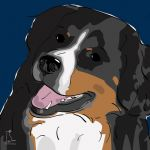 Canvas Print BERNESE MOUNTAIN DOG DARK BLUE