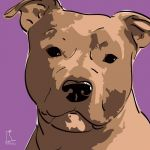 Canvas Print AMERICAN STAFFORDSHIRE TERRIER VIOLET