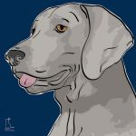 Canvas Print WEIMARANER DARK BLUE