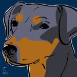 Canvas Print MINIATURE PINSCHER DARK BLUE